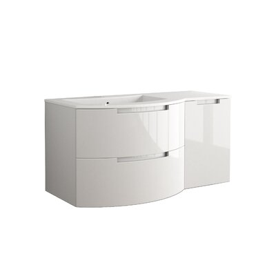 Oasi 43 Single Right Side Cabinet and Shelf Vanity Set Base Finish: White