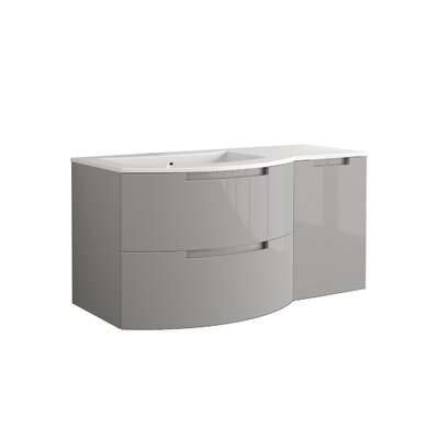 Oasi 53 Single Right Side Cabinet with Shelf Vanity Set Base Finish: Gray