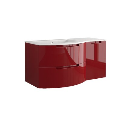 Oasi 53 Single Right Side Cabinet with Shelf Vanity Set Base Finish: Red