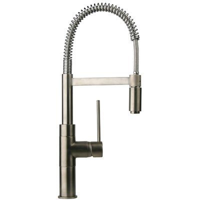 Elba Single Handle Deck Mount Faucet with Spring Spout Finish: Brushed Nickel