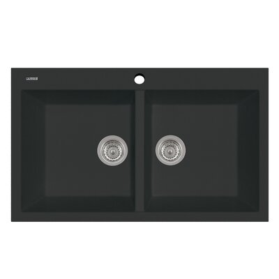 Elegance 34 x 20 Series Double Basin Drop Kitchen Sink Finish: Matt Black