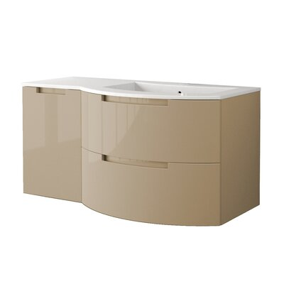 Oasi 52.4 Single Left Side Cabinet with Shelf Vanity Base Finish: Sand