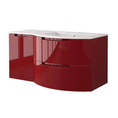 Oasi 52.4 Single Left Side Cabinet with Shelf Vanity Base Finish: Red