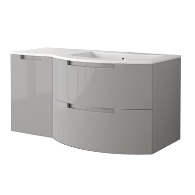 Oasi 52.4 Single Left Side Cabinet with Shelf Vanity Base Finish: Grey