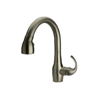 Petrarca Single Handle Deck Mounted Kitchen Faucet with Pull-Down Spray Finish: Brushed Nickel
