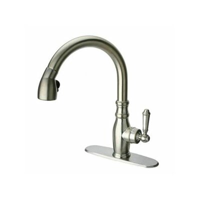 Old Fashion Single Handle Deck Mounted Kitchen Faucet with Pull-Down Spray Finish: Brushed Nickel