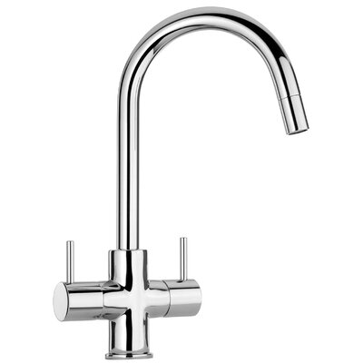 Elba Pull Down Touch Double Handle Kitchen Faucet Finish: Bushed Nickel