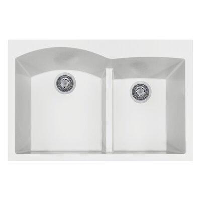 33 x 22 Double Basin Drop-In Kitchen Sink Finish: Milk White