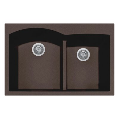 33 x 22 Double Basin Drop-In Kitchen Sink Finish: Brown