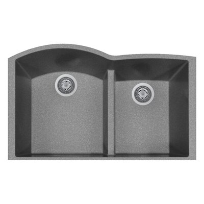 33 x 21 Double Basin Undermount Kitchen Sink Finish: Titanium
