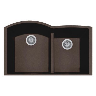 33 x 21 Double Basin Undermount Kitchen Sink Finish: Brown
