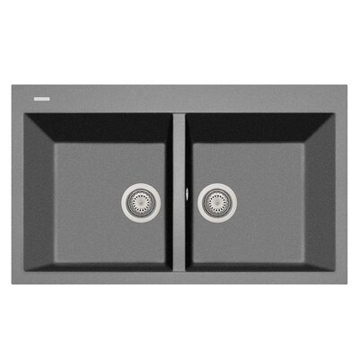 34 x 20 Double Basin Drop-In Kitchen Sink Finish: Titanium