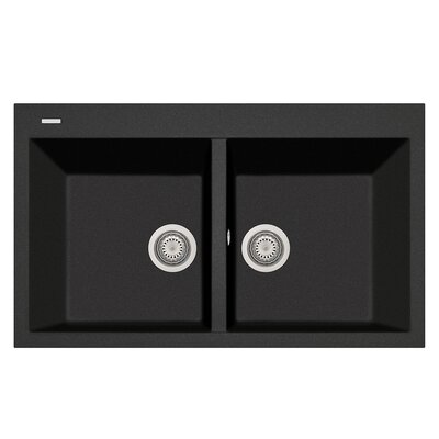 34 x 20 Double Basin Drop-In Kitchen Sink Finish: Black