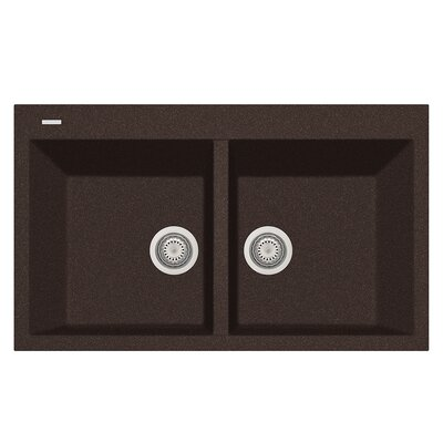 34 x 20 Double Basin Drop-In Kitchen Sink Finish: Brown