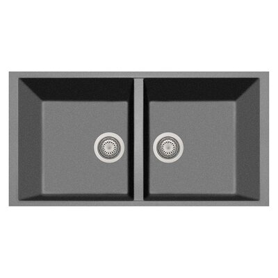 34 x 18 Double Basin Undermount Kitchen Sink Finish: Titanium