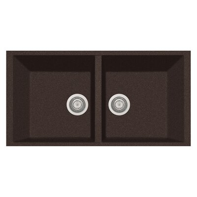 34 x 18 Double Basin Undermount Kitchen Sink Finish: Brown