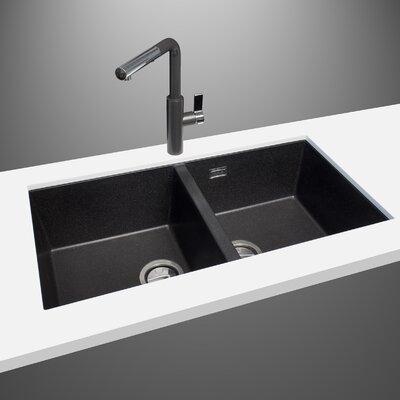 34 x 18 Double Basin Undermount Kitchen Sink Finish: Black