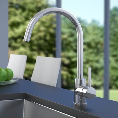 Dia Pull Down Single Handle Kitchen Faucet Finish: Chrome