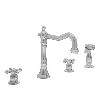 Carrington Double Handle Kitchen Faucet with Handspray Finish: Stainless Steel, Flow Rate: 1.5 gpm