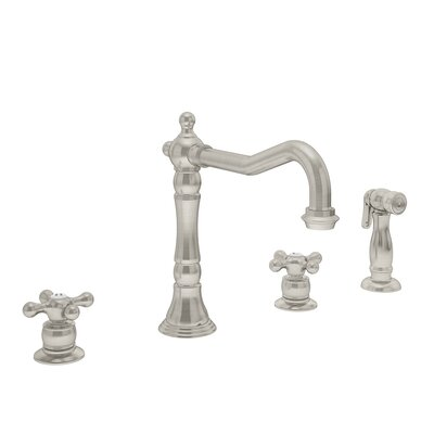 Carrington Double Handle Kitchen Faucet with Handspray Finish: Satin Nickel, Flow Rate: 1.5 gpm