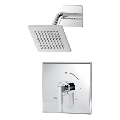 Duro 1-Handle Shower Valve Faucet Trim Kit with Square Showerhead and Lever Handle Finish: Chrome