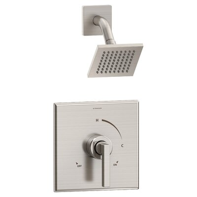 Duro 1-Handle Shower Valve Faucet Trim Kit with Square Showerhead and Lever Handle Finish: Satin Nickel