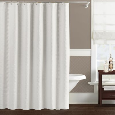 Freman White Cotton Home Shower Curtain