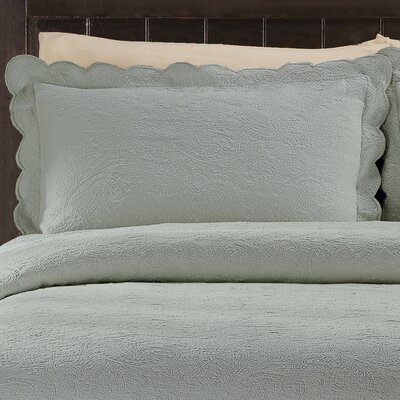 Kinsley Cotton Sham Size: King, Color: Silver Blue