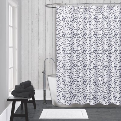 Kinetic Cotton Shower Curtain Color: White / Black