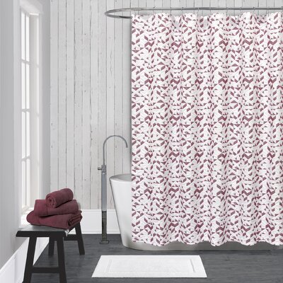 Kinetic Cotton Shower Curtain Color: White / Red