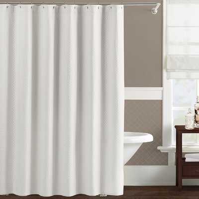 Freman Cotton Shower Curtain Color: White