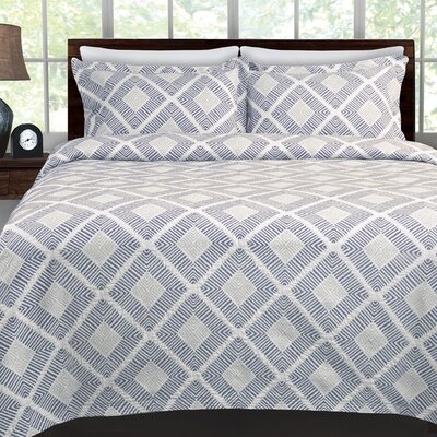 Equinox Coverlet Color: Navy Blue, Size: King