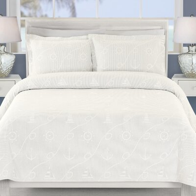 Marina Coverlet Size: Twin, Color: White