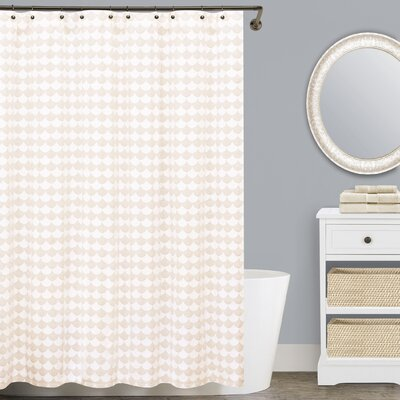 Finley Cotton Shower Curtain Size: 84 H x 72 W, Color: Beige and White