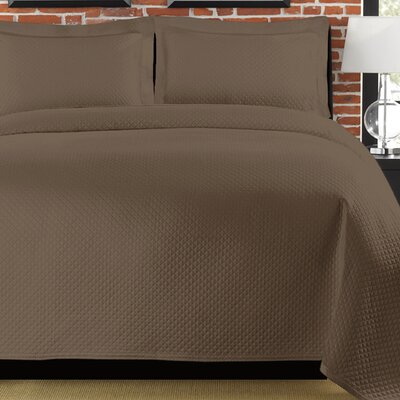 Diamante Coverlet Size: Twin, Color: Chocolate Chip