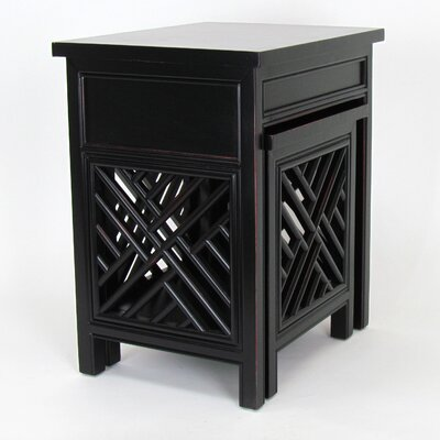 Lattic 2 Piece Nesting Tables Color: Antique Black