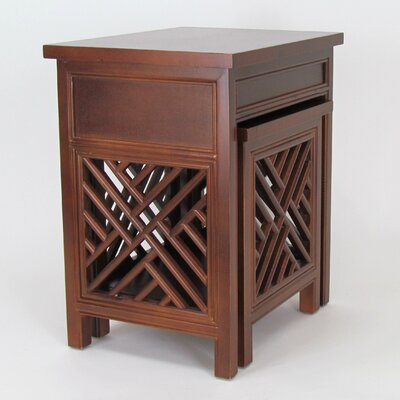 Lattic 2 Piece Nesting Tables Finish: Brown