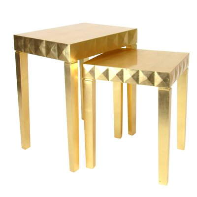2 Piece Nesting Table Set Color: Gold Leaf