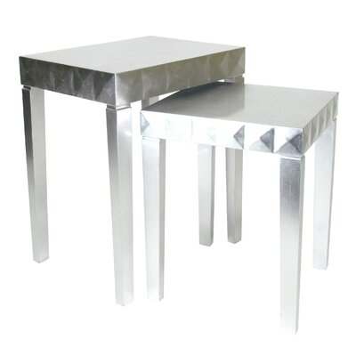 2 Piece Nesting Table Set Color: Silver Leaf