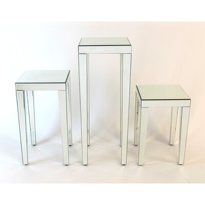 Beveled Mirror End Table