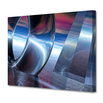 'Blue Torus/Pyramid' by Scott J. Menaul Graphic Art on Wrapped Canvas Size: 20