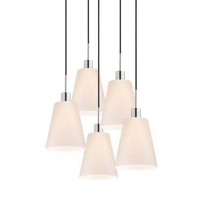 5-Light Tall Cone Pendant Cord Color: Black