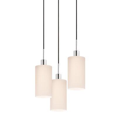 3-Light Cylinder Pendant Cord Color: Black