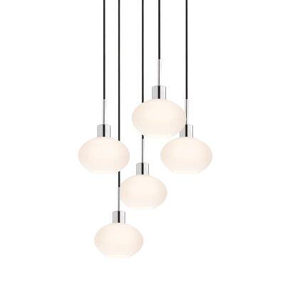 5-Light Demi Pendant Cord Color: Black