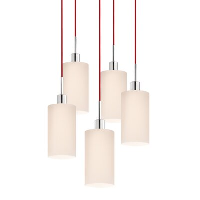 5-Light Cylinder Pendant Cord Color: Red
