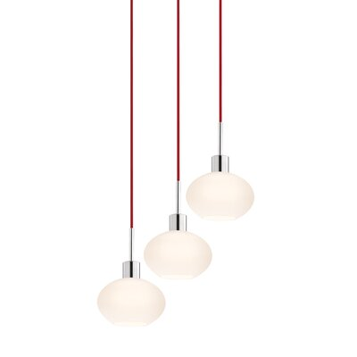 3-Light Demi Pendant Cord Color: Red