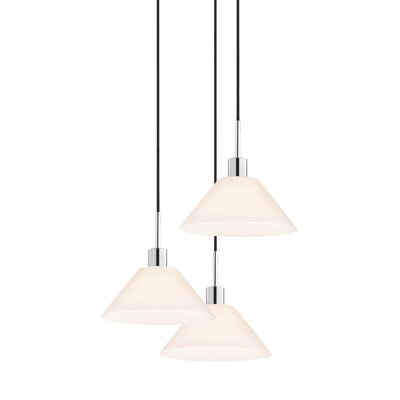 3-Light Cone Pendant Cord Color: Black