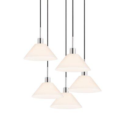 5-Light Cone Pendant Cord Color: Black