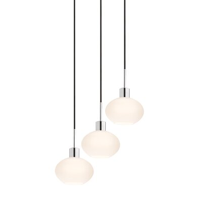3-Light Demi Pendant Cord Color: Black