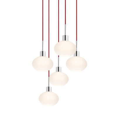 5-Light Demi Pendant Cord Color: Red